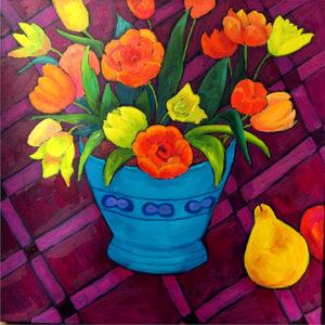 """Flowers (Mostly), 24"""" x 24"""" by Judy Feldman"""