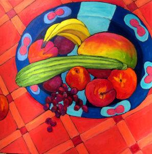 """Fruit (Mostly), 24"""" x 24"""" by Judy Feldman"""