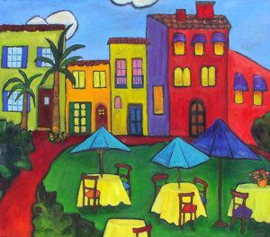 """Mediterranean Afternoon 30"""" x 40"""" by Judy Feldman"""