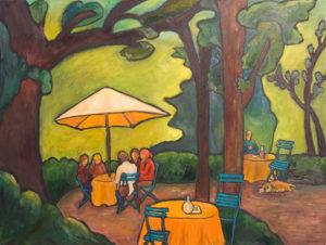 """Lunch at Hotel Baudy 30"""" x 40"""" by Judy Feldman"""