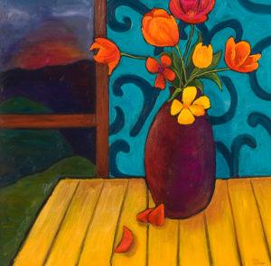 "Tulips at Sunset, 30"" x 30"" by Judy Feldman"