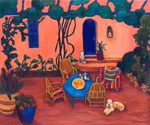 "At the Villa Mandarine 30"" x 36"" by Judy Feldman"