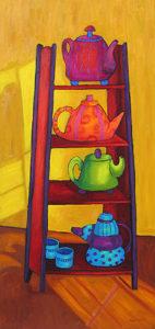 "Teapots, 48"" x 24"" by Judy Feldman"