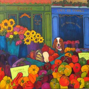 "Market Day 36"" x 36"" by Judy Feldman"