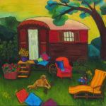 """La Roulotte 36"""" x 36"""" by Judy Feldman"""